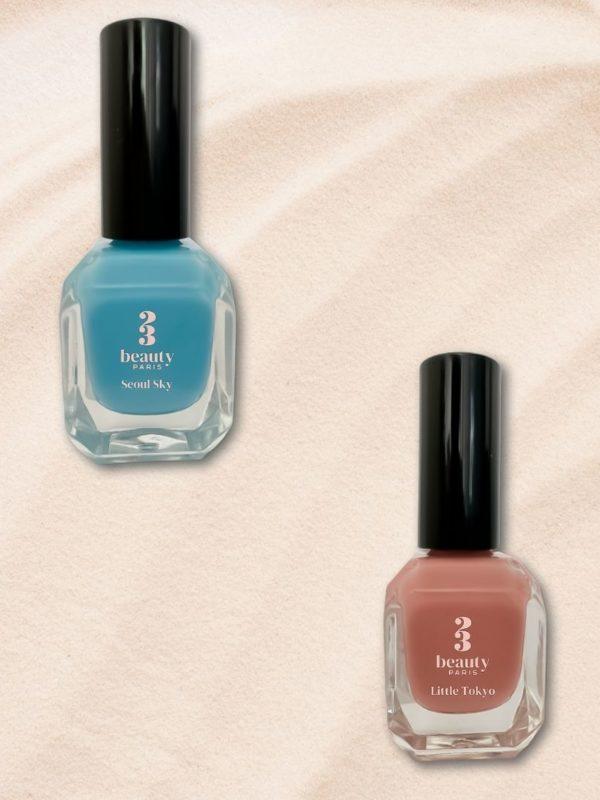Duo de vernis à ongles 23Beauty Paris contenant le bleu ciel et le rose nude